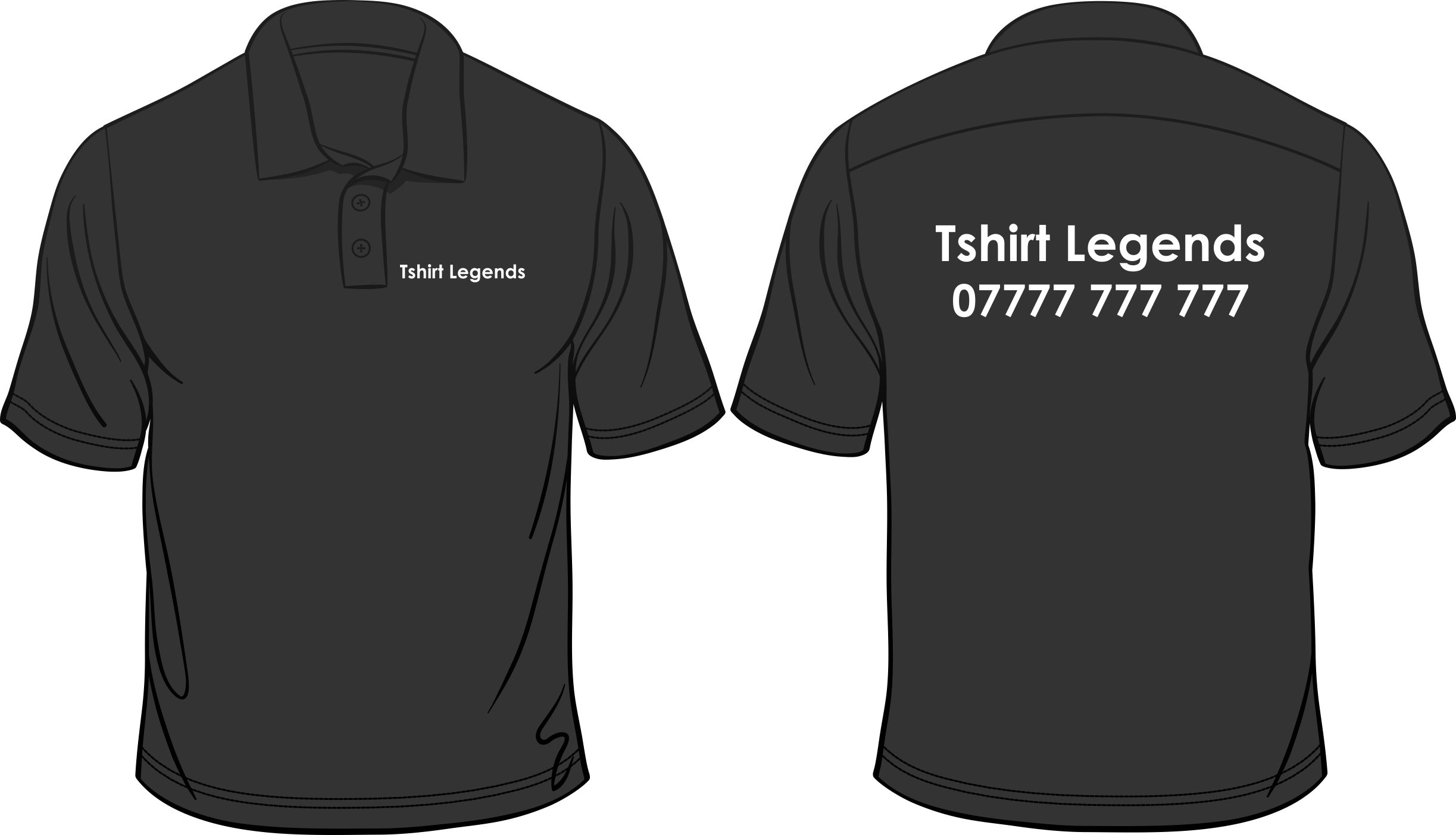 Your business name or logo printed on custom made brand for Custom tailored polo shirts