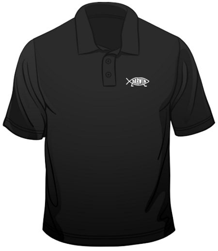 Darwin fish evolution logo scientist polo mens loose fit for Polo shirt with fish logo